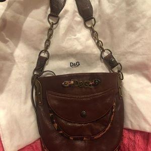 Authentic D&G Leopard calfskin Italian Leather bag
